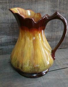 Vintage Blue Mountain Pottery Harvest Gold Pitcher, Vintage Pottery Jug by EmptyNestVintage on Etsy