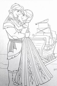 Anna and Kristoff Coloring Page Frozen Coloring Pages http://coloringbookfun.com/Frozen Print from home for free