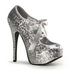 5 3/4 Silver Glitter Pumps w/Ribbon Lace [TEE10G/S] - $65.00 : Clubwear, Pole Dancing Clothes, Exotic Wear and Stripper Clothes--In love with these shoes!