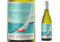Atlantique is a wine label inspired by the French Riviera and holidays on the coast. Using inspiration from vintage travel posters and the bright blue skies of the South of France, we created an eye-catching label to get this wine noticed. Wine Packaging, Brand Packaging, Packaging Design, Branding Design, Wine Bottle Design, Wine Label Design, Sauvignon, French Wine, Brand Design