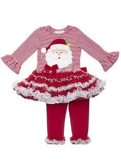 De Santa vestido con tutú y Legging Conjunto <br> 2T a 6X <BR> Ahora en Stock