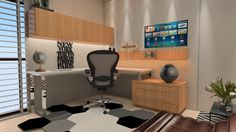 #projetosHAUS Um home office elegante, sofisticado e confortável. Proposta que brinca com tons de madeira, couro, geometria no tapete, branco e cromado.     #Haus #HausEngenho