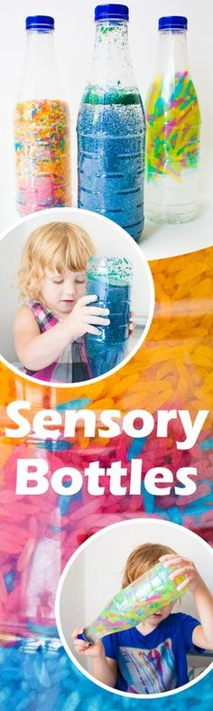 Sensory Bottles or Discovery Bottles: The colorful magic bottles contain pearls, glitter or other little things to discover. 6 Month Baby Activities, Winter Activities For Kids, Alphabet Activities, Sensory Activities, Sensory Play, Infant Activities, Rainbow Sensory Bottles, Sensory Bottles Preschool, Glitter Sensory Bottles
