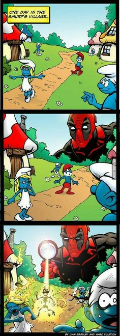 Deadpool play with smurfs.