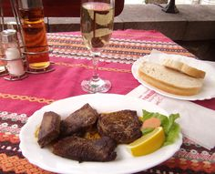 ~Veal tongue sauteed in butter with an awesome Bulgarian Sauvignon Blanc~ Plovdiv, Bulgaria.....April, 2012