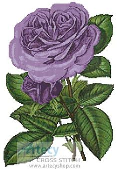 Artecy Cross Stitch. Lavender Roses Print Cross Stitch Pattern to print online.