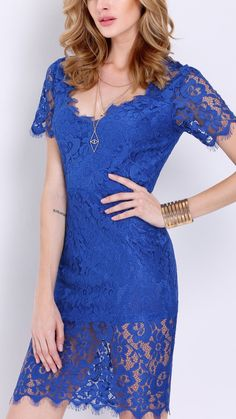 Love the color in this short sleeve crochet lace zipper dress