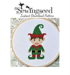 INSTANT DOWNLOAD Little Boy Elf Cross Stitch Pattern by Sewingseed, $5.00