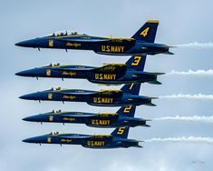 F/18 SUPER HORNETS Super Blues Line Abreast 11x14 matting 8x10 print Signed by photographer, Jacob Warye.