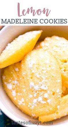 Desserts Français, French Desserts, Lemon Desserts, Lemon Recipes, Lemon Madeleine Recipe, Madeline Cookies Recipe, Madelines Recipe, Madeleine Cake, French Cookies
