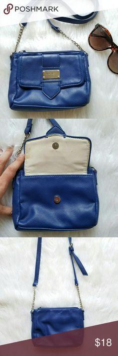"Nine West Mini Blue Crossbody Nine West brand.  Crossbody bag. Mini size.  7.5"" x 5"" x 1.5"" Flap front. Zip top closure. Interior zip pocket. Adjustable partial-chain crossbody / shouldler strap. Excellent condition! Nine West Bags Crossbody Bags"