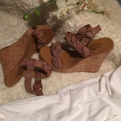 Charles Albert cork edges Braided strapped/ sandals/ buckle adjustable/ cork edges / heels 5 inches Shoes Wedges