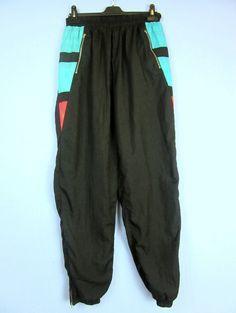 "VINTAGE RETRO black SHELL TRACKSUIT BOTTOMS 80's 90's w30-32"" L32'' tb31"