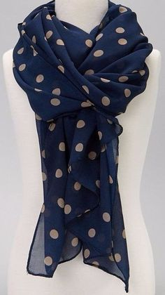 Wear Freedom Blue Scarf With Tan Polka Dot Scarves Shawl Stole Wrap in Clothing, Shoes & Accessories, Women's Accessories, Scarves & WrapsLoving this Sweet Indigo Navy Blue & Tan Polka Dot Scarf Super Stylish Ways To Tie A Pashmina Scarves/Shawl Polka Dot Scarf, Polka Dots, Mode Choc, Cute Scarfs, How To Wear Scarves, Scarf Styles, Ideias Fashion, What To Wear, Stylish