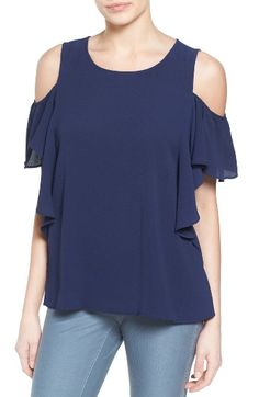 Free shipping and returns on Bobeau Cold Shoulder Ruffle Sleeve Top at Nordstrom.com. Adding a dash of feminine frill to the shoulder-baring trend, a semi-sheer, textured crepe top features cascading sleeve ruffles.
