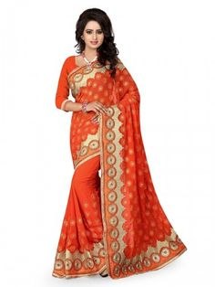 Glory Catloge -orange Colored Embroidered Georgette Sarees - Buy Orange Georgette Embroidered Saree For only Rs.2,749 from Godomart Online Shopping Store India. Shop Online for Best Saree Collection Only at Godomart.com
