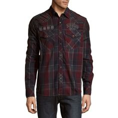 Affliction Contender Plaid Cotton Button-Down Shirt ($35) ❤ liked on Polyvore featuring men's fashion, men's clothing, men's shirts, men's casual shirts, mens long sleeve shirts, mens casual long sleeve button down shirts, mens red button down shirt, mens button shirts and mens long sleeve button down shirts