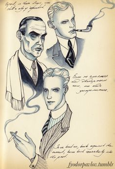 """fyodorpavlov: """" Just a few of my most beloved century authors - Evelyn Waugh, Erich Maria Remarque and of course F. Evelyn Waugh, Sketchbook Pages, Scott Fitzgerald, Powerful Words, Cover Art, Cool Words, Illustrators, Tarot, Doodles"""