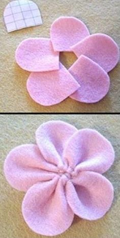 Felt Flower Tutorial: Spring collage – arts and crafts unleashed - Fabric CraftsHow to make felt flowers. Wreath Crafts, Flower Crafts, Felt Crafts, Fabric Crafts, Sewing Crafts, Cloth Flowers, Felt Flowers, Fabric Flowers, Zipper Flowers