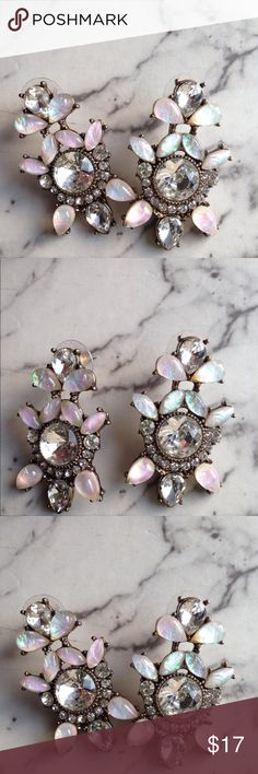 """Opal and Crystal Earrings Factory Opal, no real precious stones, but very sparkly statement earrings! Perfect for a white dress and heels! 💕 1 3/4"""" long Charming Charlie Jewelry Earrings"""