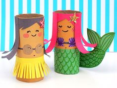 MollyMooCrafts Toilet Roll Crafts: Hula Girl and Mermaid Diy Paper Crafts diy crafts out of toilet paper rolls Summer Crafts For Kids, Crafts For Kids To Make, Crafts For Girls, Projects For Kids, Fun Crafts, Arts And Crafts, Kids Fun, Creative Crafts, Kids Girls