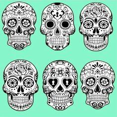 sugar skulls ideas for tattoo - Mexican Halloween Skulls