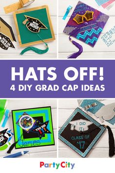 Glam out graduation caps with shiny gold duct tape, graduation cutouts and more. Check out easy cap ideas for grads of all grade levels at Party City.