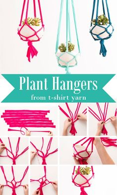 Plant Hangers From T-Shirt Yarn
