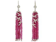Cathy Waterman Ruby Tassel Earrings in Platinum