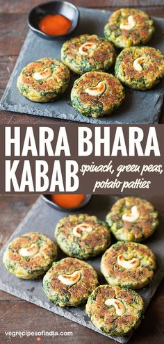 Hara Bhara Kabab Recipe with stepwise photos and video. Hara Bhara Kabab is a delicious starter snack made from spinach, potatoes and green peas. Kebab Recipes, Vegetable Recipes, Indian Food Recipes, Broccoli Recipes, Vegetable Sides, Noodle Recipes, Fudge Recipes, Cauliflower Recipes, Steak Recipes