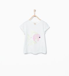 Image 2 of Sequinned fish T-shirt from Zara