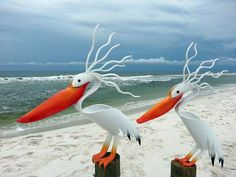 Pelicans made out of pvc