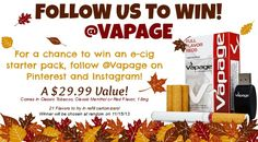 Follow us on Instagram and Pinterest for your chance to win a free rechargeable e-cig starter pack! Winner will be chosen at random on 11/15/13. #Vapage #ecigs #electroniccigarettes #rechargeable #vape #vaping #ego #vpro #solokit #650 #tank #crystal #atty #cartomizer #ejuice #eliquid #PV #flavoryouwilllove #contest #pinit #followus #instagram #pocketpack #limitedtime #doitnow #share #promotion #free #freebie #random #quitsmoking #nosmoke #battery #instagood #instalike #hashtags #fall
