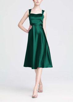 David`s Bridal Satin Wide Strap Tea Length Dress Style F14556