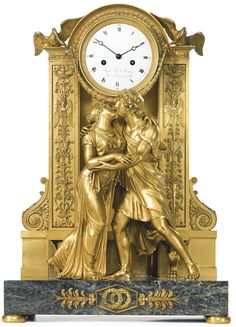 Antique Clocks : An Empire ormolu and Patricia green marble horloge à poser, attributed to Claude Galle Paris, circa -Read More –