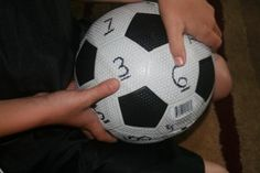 Multilevel math facts practice with a modified soccer ball: youngers can identify or add the numbers under their thumbs as they catch the ball; olders can multiply them. Teaching Boys, Teaching Kindergarten, Teaching Ideas, Math Resources, Math Activities, Math Fact Practice, Math Facts, Multiplication Facts