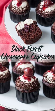 Black Forest Chocolate Cupcakes with Cream Cheese Frosting have all the flavour of black forest cake in cupcake form and an irresistible Cream Cheese Frosting. Black Forest Chocolate Cupcakes with Cream Cheese Frosting have all the flavour of black forest Black Forest Cheesecake, Mini Cheesecake, Cheesecake Cupcakes, Black Forest Cupcakes, Black Forest Cake, Brownie Cupcakes, Cupcake Cream, Cupcakes With Cream Cheese Frosting, Cheese Cupcake
