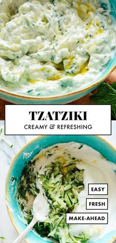 This tzatziki sauce tastes just like your favorite Greek restaurant's! It's easy to make with simple, healthy ingredients: Greek yogurt, cucumber, oli.