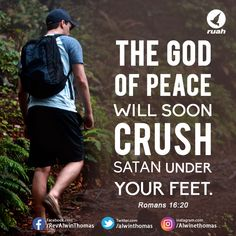Romans 16:20(NIV) #dailybreath #ruah #ruahchurch #promiseverse #promiseoftheday #god #peace #crush #satan #feet Biblical Quotes, Bible Verses Quotes, Bible Scriptures, Godly Quotes, Inspirational Quotes About Success, Quotes About God, Meaningful Quotes, Promise Of The Day, Words Of Comfort