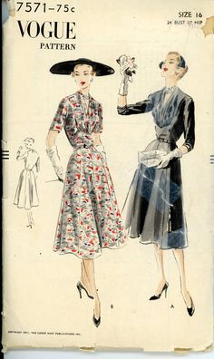 1950s Dress Pattern Vogue 7571 Misses Shirred V by CynicalGirl, $46.00
