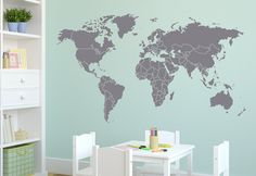 Wall Decal World Map with Countries Borders Wall Vinyl Decal Sticker.