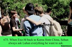 EXO facts 675 - When EXO M was back from Korea to China, Sehun always asked Luhan everything he wanted to ask.