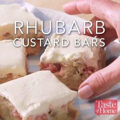 Rhubarb Custard Bars In Greece this gorgeous tart is more commonly known as galaktoboureko – layers of filo pastry enclosing a thick custard, then soaked with a lemon-s Rhubarb Custard Cake is sRhubarb Magic Custard CakRhubarb custard tart Baking Recipes, Cake Recipes, Dessert Recipes, Meal Recipes, Potato Recipes, Dinner Recipes, Rhubarb Custard Bars, Rhubarb Pudding Cake, Rhubarb Cookies