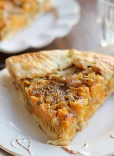 This pizza-sized galette is filled with a savory butternut squash, caramelized onion, and cheesy mix that will leave you craving slice after slice!