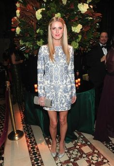 Nicky Hilton wearing Christian Louboutin Samira Strass Pumps, Valentino Fall 2013 Dress and Jimmy Choo Perfect Clutch in Champagne.