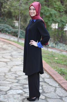Som Fashion Siyah Kol Düğmeli Tesettür Tunik