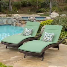 Add some stylish comfort to your patio decor with these wicker lounges. Complete with colored cushions to add a touch of fun to your outdoor space, these lounges will have you relaxing in style.