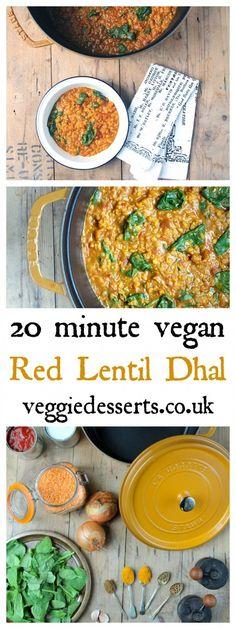 Red Lentil Dhal Fresh Ginger Spices Coconut Milk Chopped Tomatoes| Vegan | 20 minutes | Veggie Desserts Blog