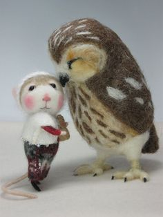 incredibly cute felted mouse and owl