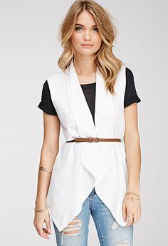 Longline Belted Vest | LOVE21 - 2000136802